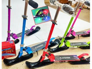 Зимние самокаты для детей. Лыжи + Светящиеся колеса в комплекте!