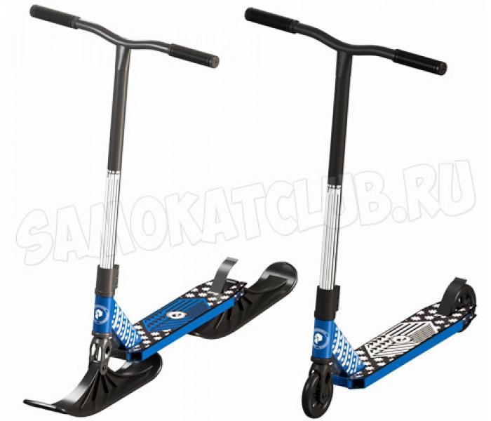 Трюковой самокат на лыжах Plank CYCLE Blue (снегосамокат)