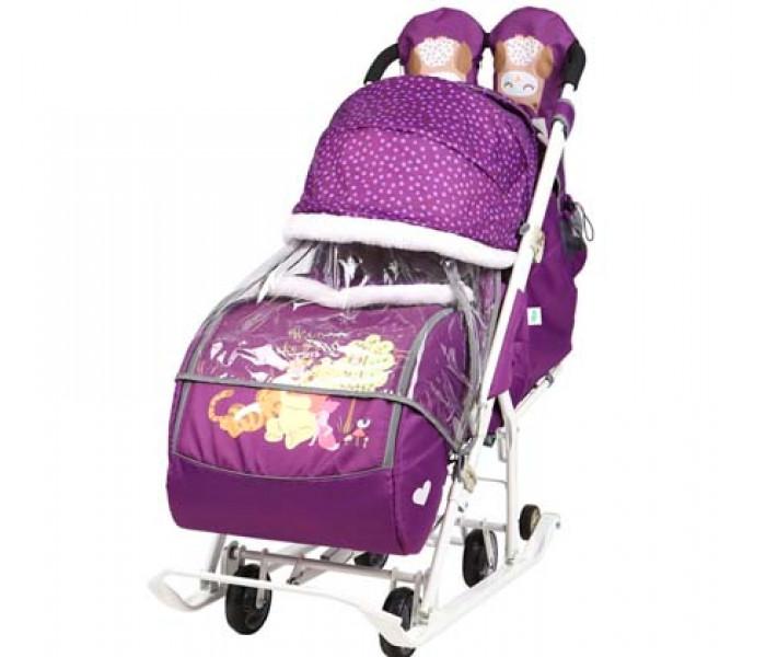 """Санки-коляска """"Disney baby 2"""" Винни баклажановый с колесами"""