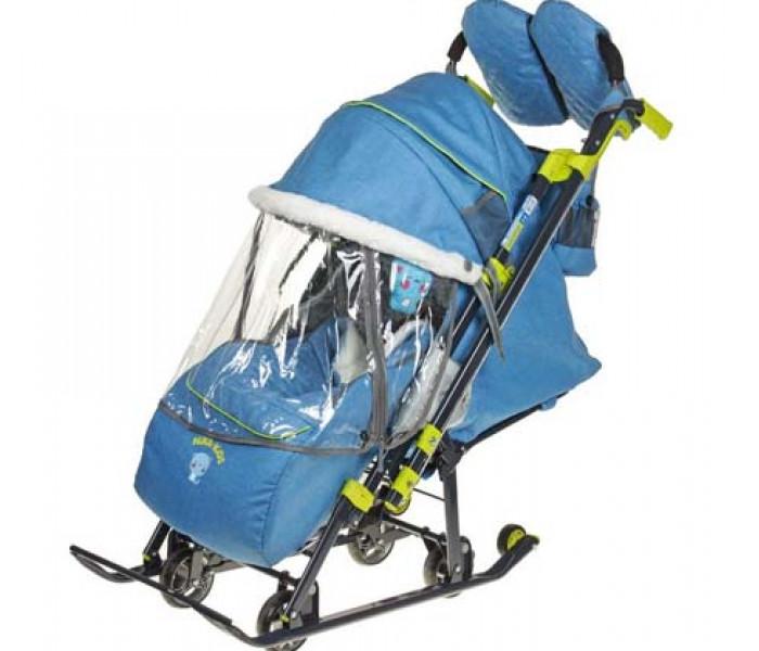 Санки-коляска «Nika Kids 7-3/1» джинсовый синий с колесами
