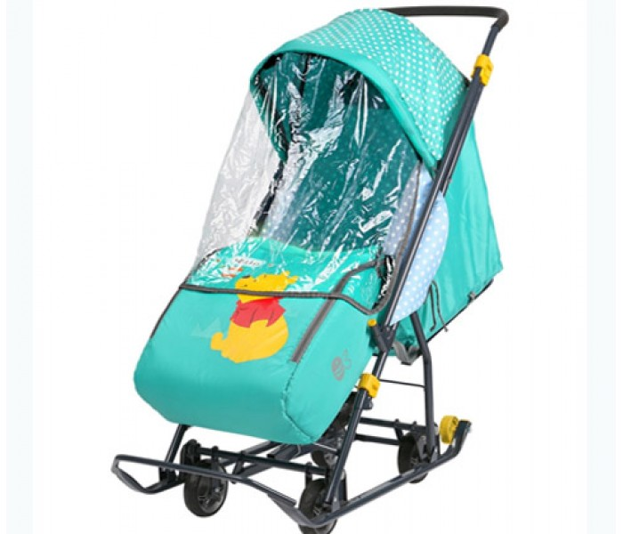 Санки-коляска НИКА «Disney baby 1» Винни (арт. DB1) с колесами
