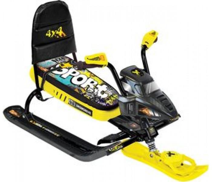 Снегоцикл детский со спинкой  (граффити желтый) с автоматической лебедкой