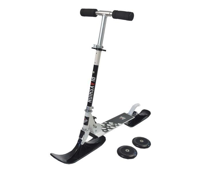 """Снегокат-самокат Playshion """"Kids SnowScooter"""" белый, с лыжами и колесами"""